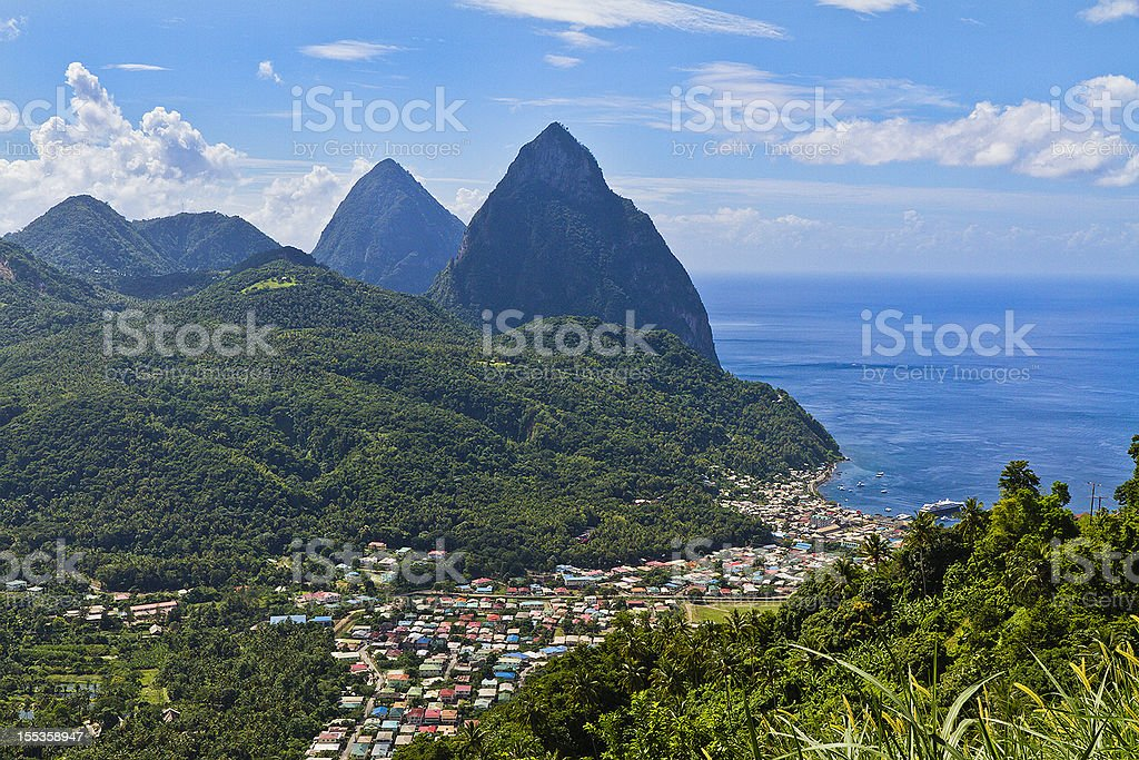 Aerial shot of bay at Soufriere and Pitons, St Lucia stock photo