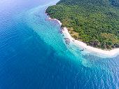 Aerial Shot of Beautiful  Green Island and White Beach