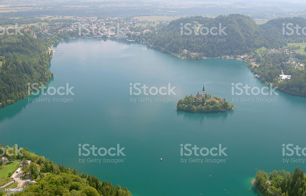 Aerial shot of Bled stock photo