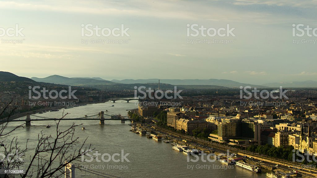 Aerial shot of Budapest at sunset stock photo