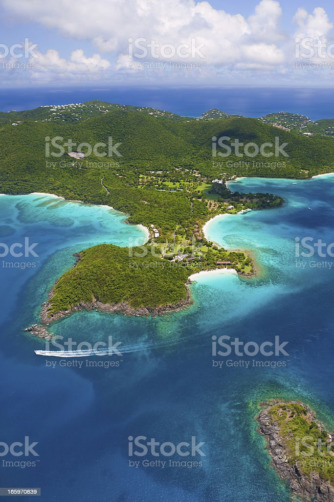 aerial shot of Caneel Bay, St. John, US Virgin Islands stock photo