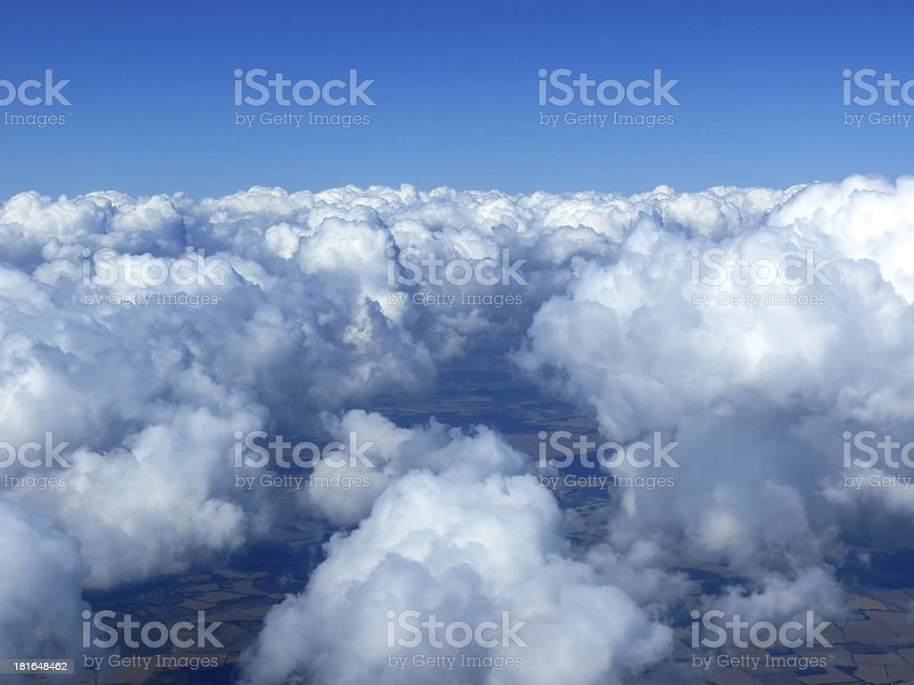 Aerial shot of cloudscape and landscape royalty-free stock photo