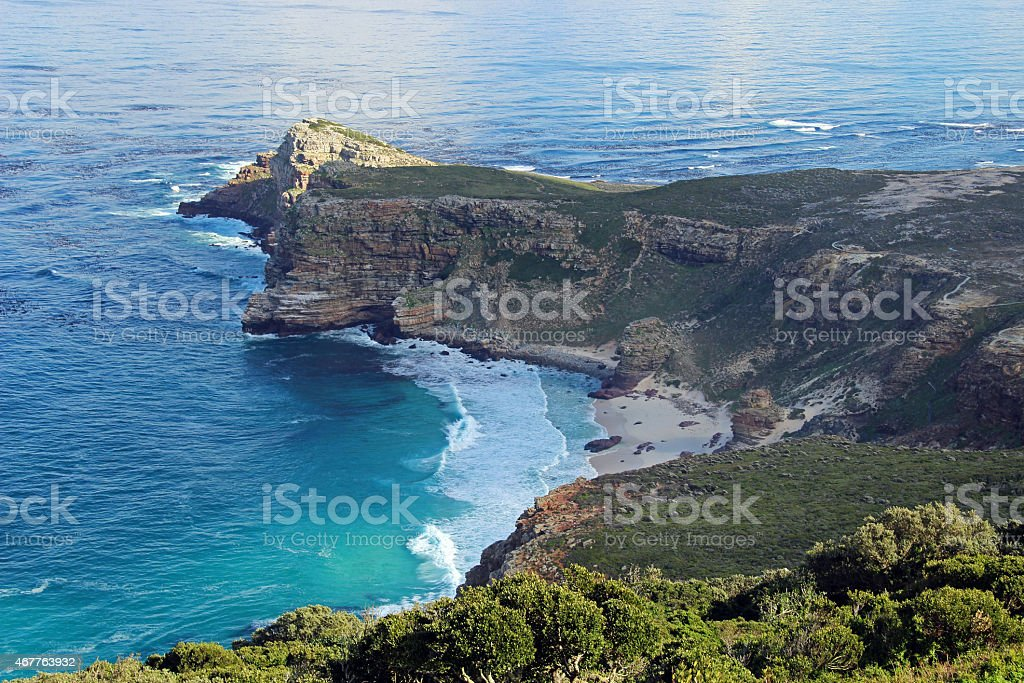 Aerial shot of coastline at Cape Point, South Africa stock photo