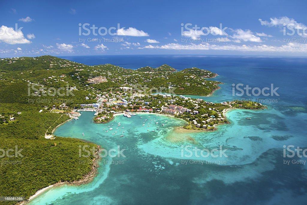 aerial shot of Cruz Bay, St.John in US Virgin Islands stock photo
