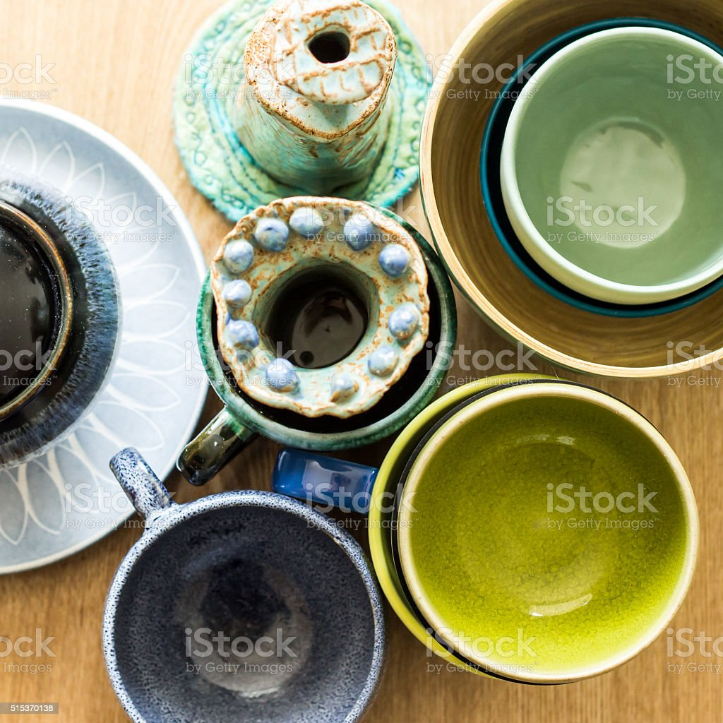 Aerial shot of cups and pots in blues and greens stock photo