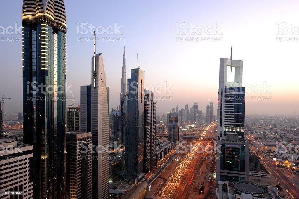 Aerial shot of Dubai at sunset royalty-free stock photo