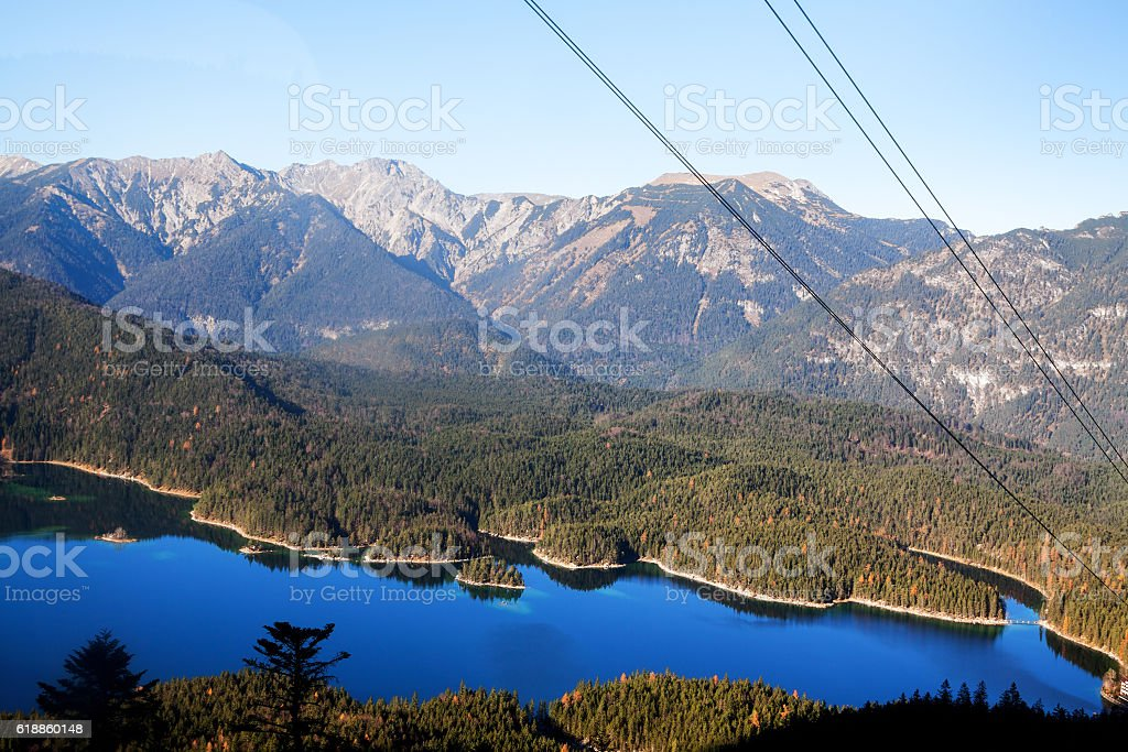 Aerial shot of Eibsee stock photo