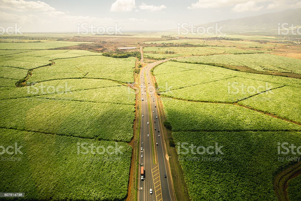 Aerial Shot of Farmland and Highway in Hawaii stock photo