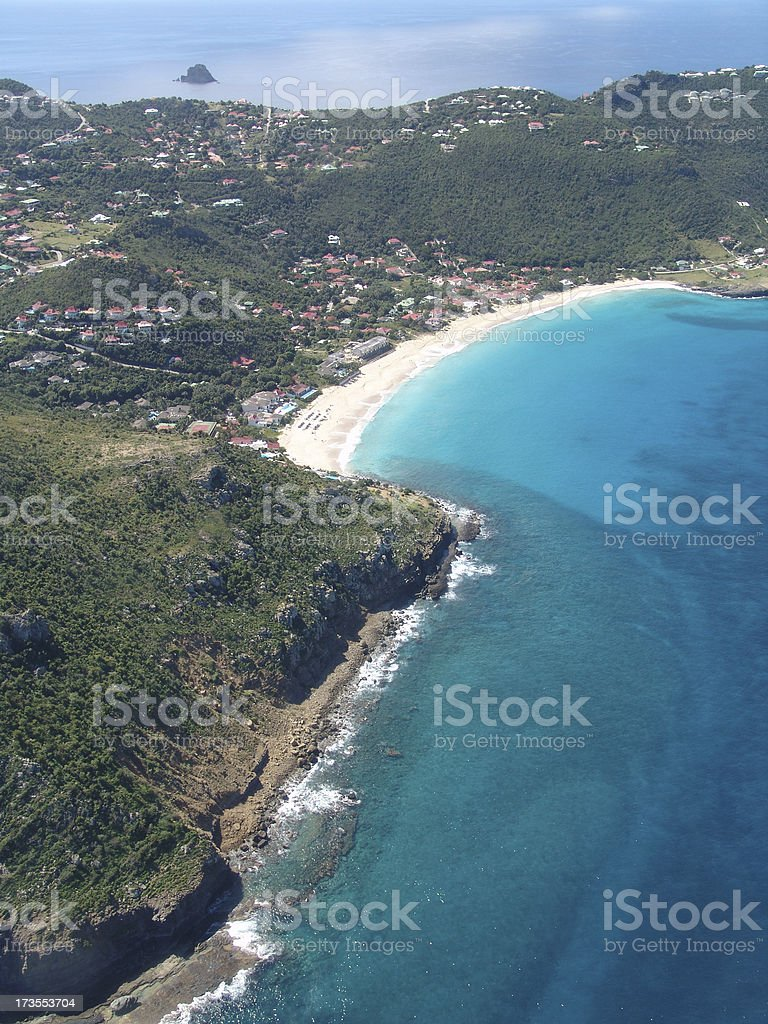 'Aerial Shot of Flamands Beach, St. Barths' stock photo