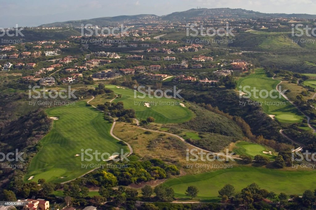 Aerial shot of golf course royalty-free stock photo