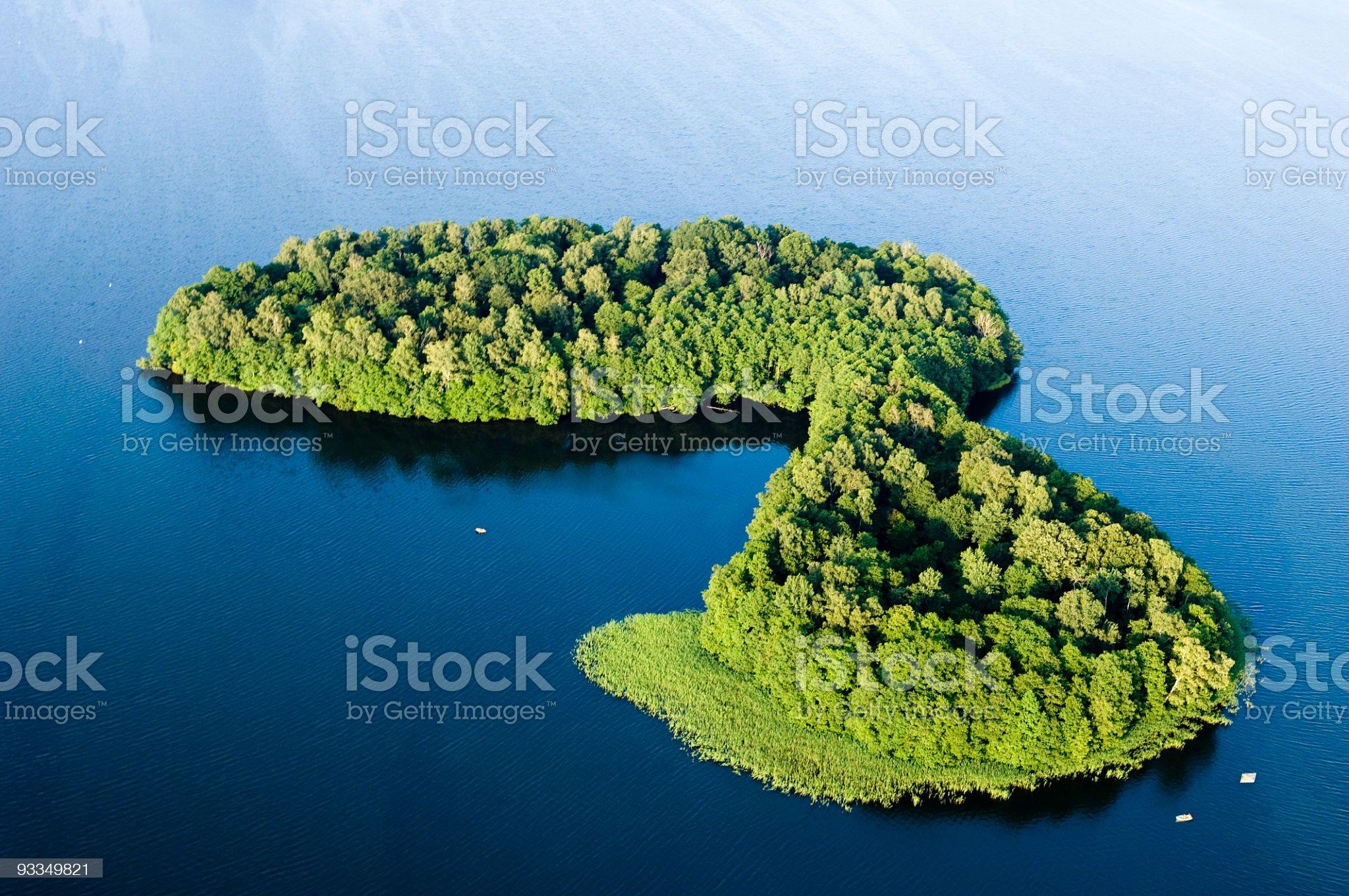 aerial shot of green island royalty-free stock photo