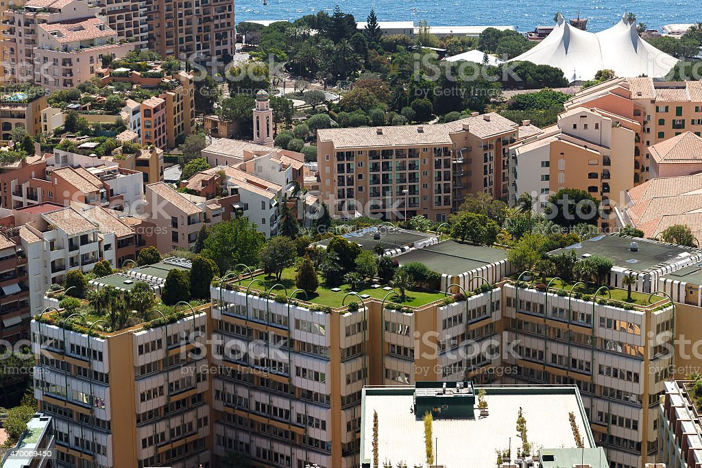 Aerial shot of high-rise buildings in Monaco stock photo