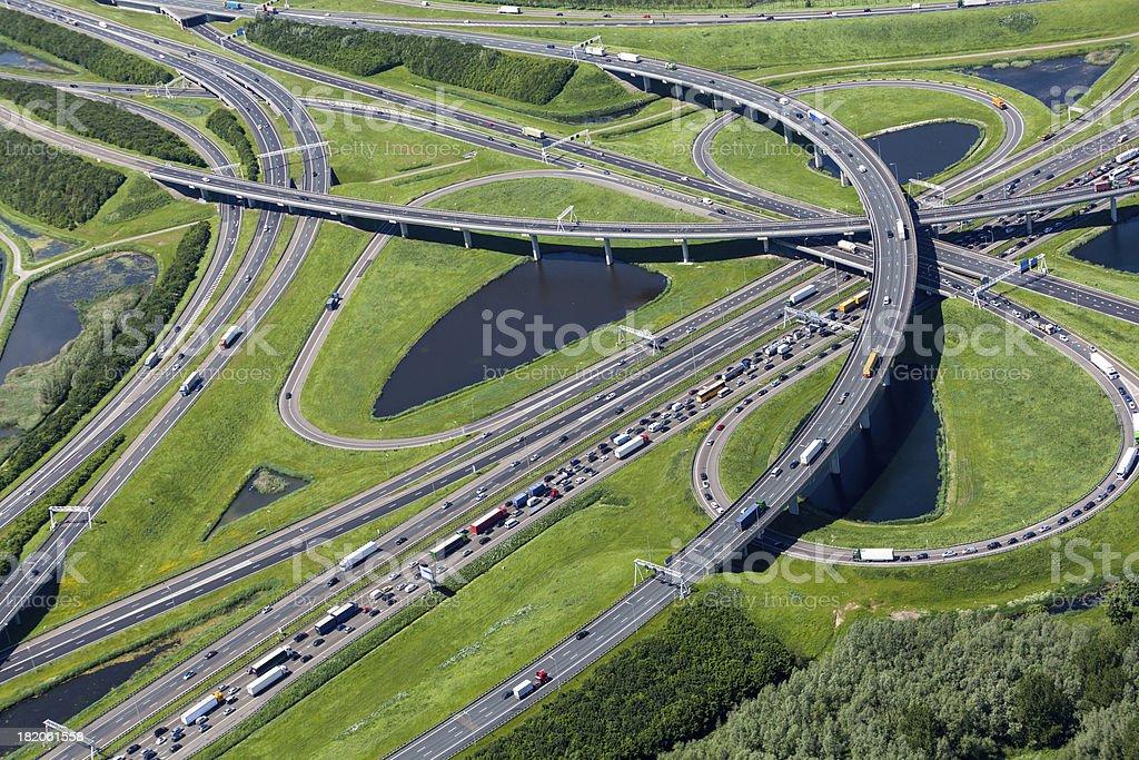 Aerial shot of highway interchange royalty-free stock photo