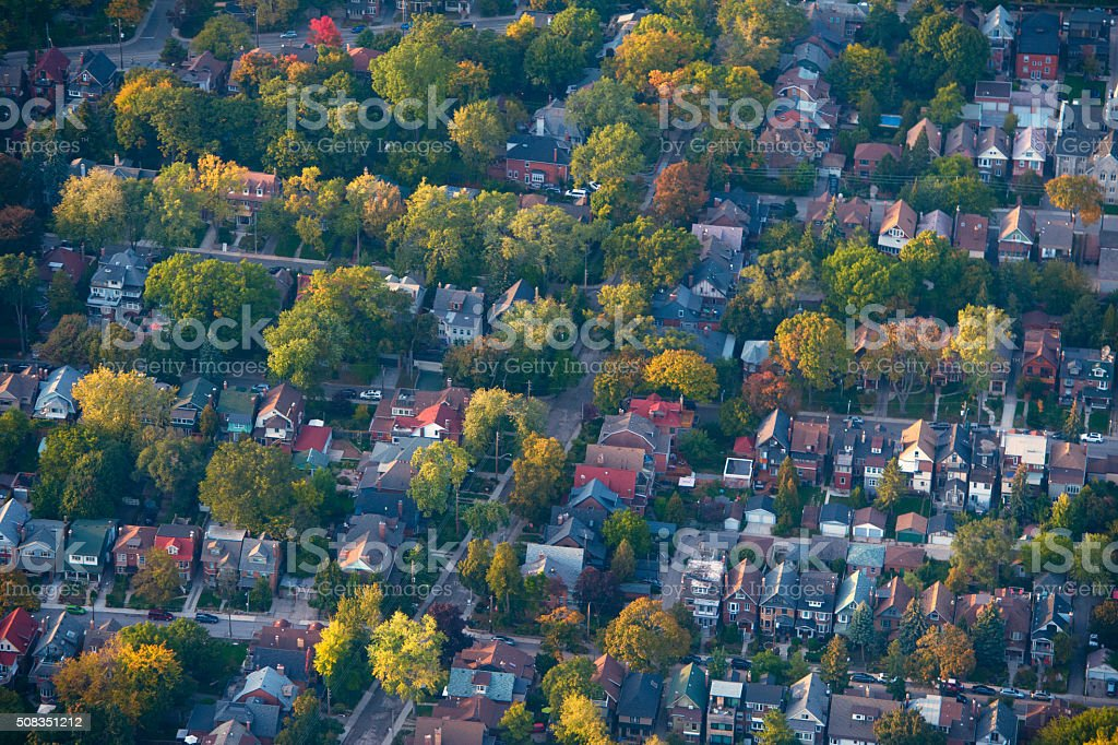 Aerial shot of housing stock photo