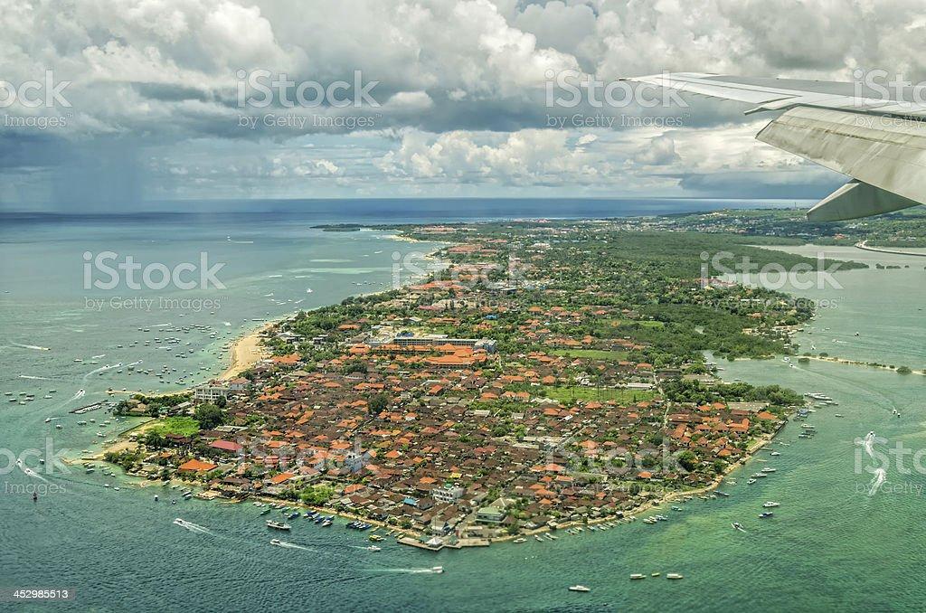 Aerial shot of Indonesian island stock photo