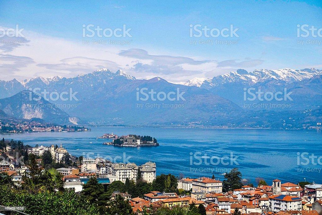 Aerial shot of Lake Maggiore coastline stock photo