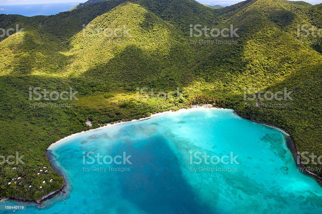 aerial shot of Maho Bay, St. John, US Virgin Islands stock photo