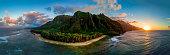 Aerial Shot of Napali Coast at Sunset (Kauai, Hawaii)