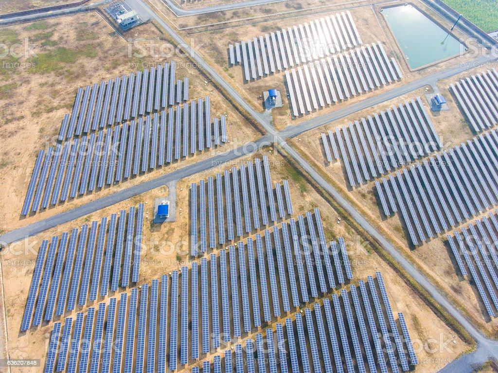 Aerial Shot of Photovoltaics Solar Farm stock photo
