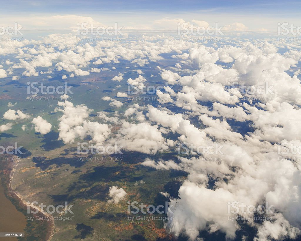 Aerial Shot of Puffy Clouds royalty-free stock photo
