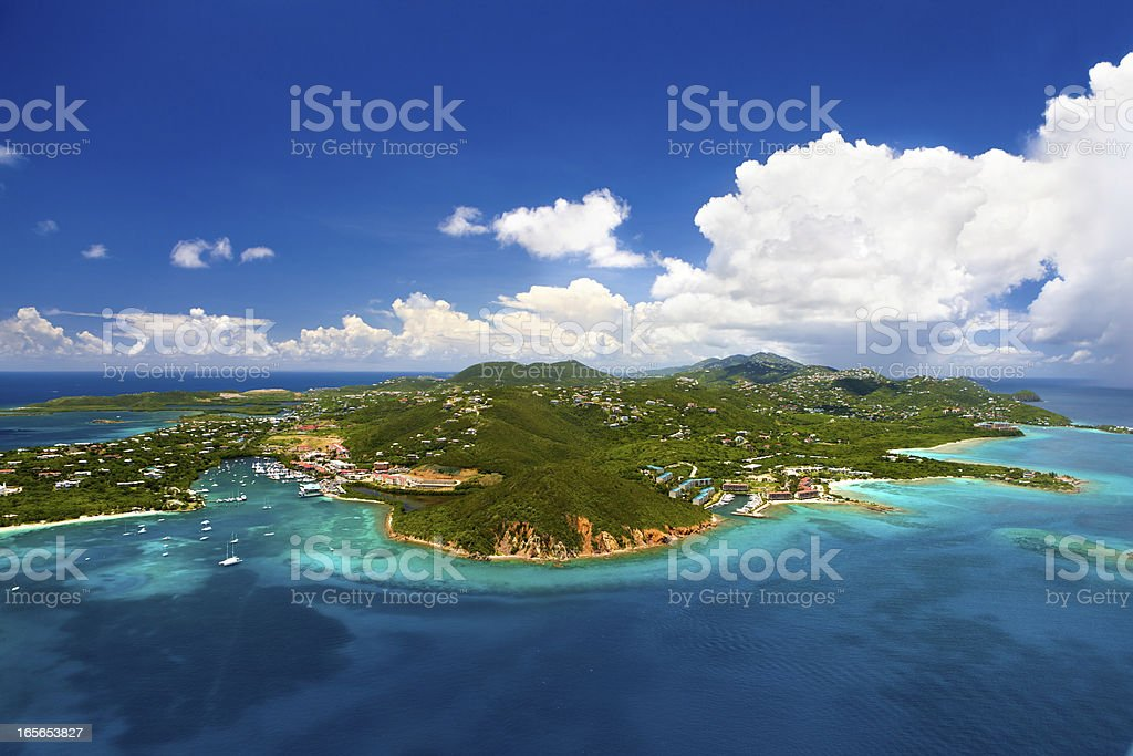 aerial shot of Red Hook, St. Thomas, US Virgin Islands stock photo
