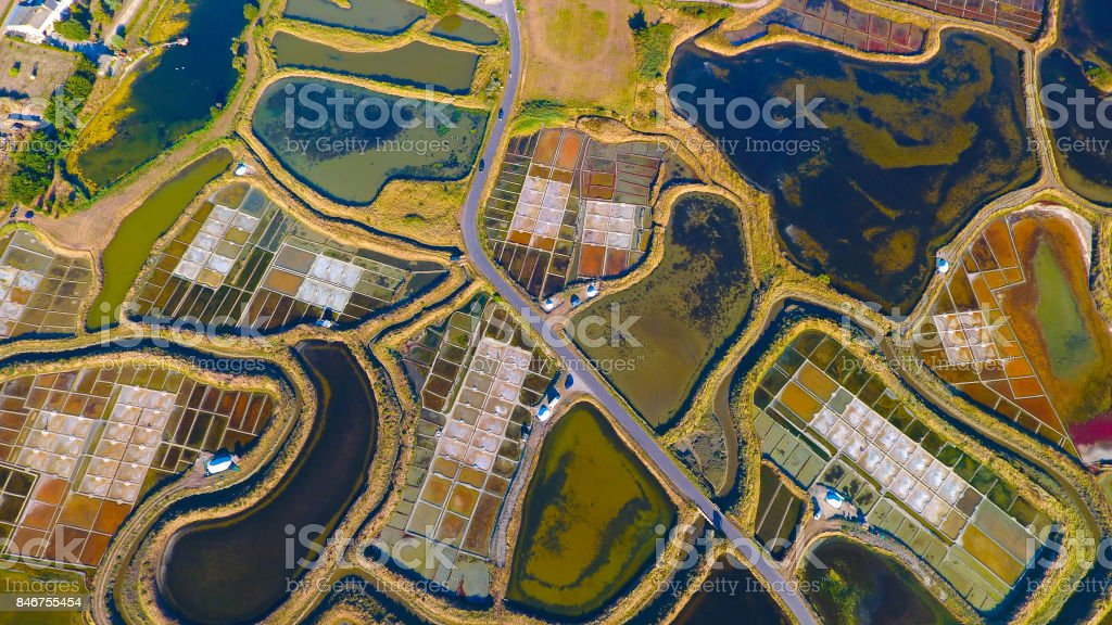 Aerial shot of salt marshes in Guerande stock photo