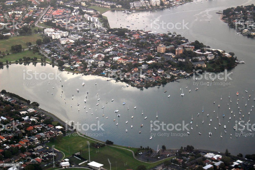 Aerial shot of Sydney Harbour with boats stock photo