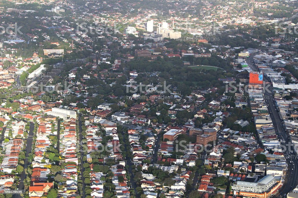 Aerial shot of Sydney Inner West stock photo