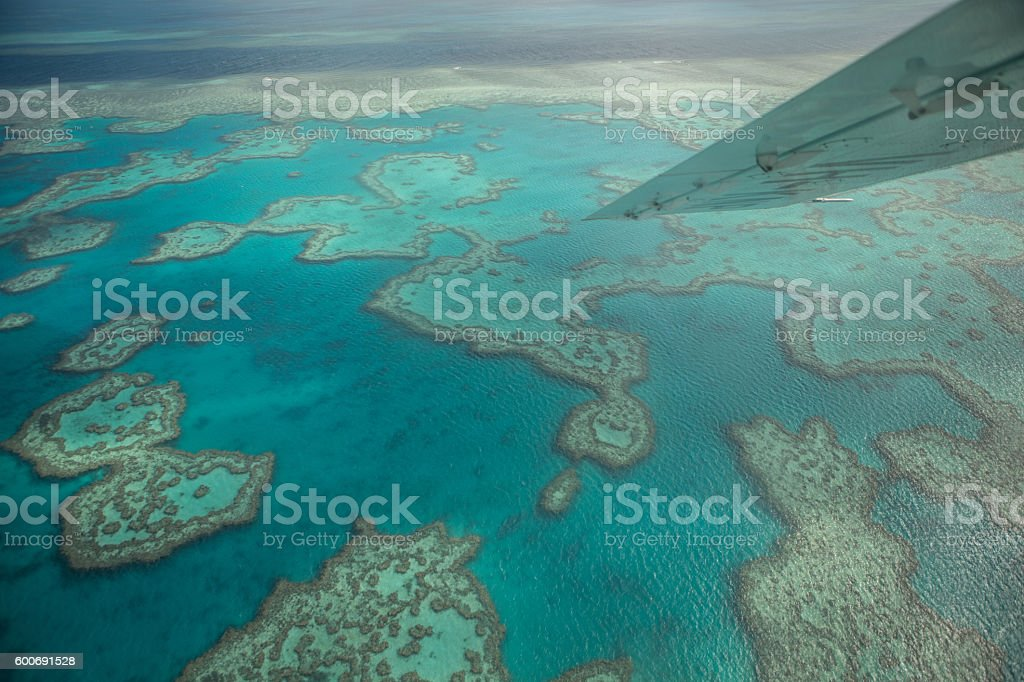Aerial shot of the Great barrier reef stock photo