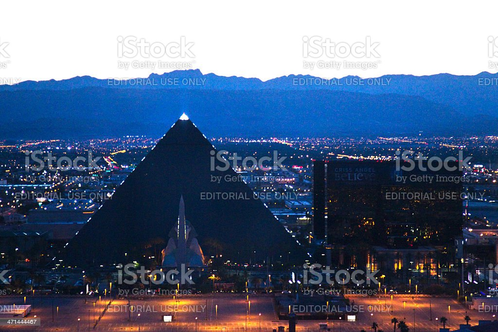 Aerial Shot of the Luxor Hotel and Casino Sunset stock photo