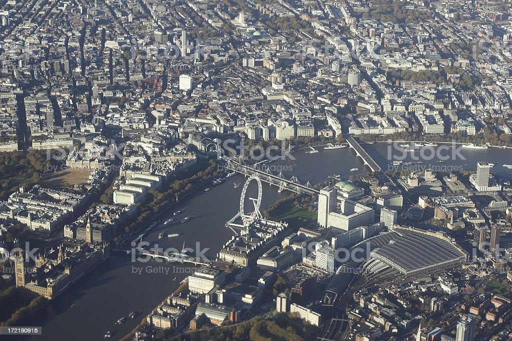 Aerial shot of the Thames and London, England royalty-free stock photo