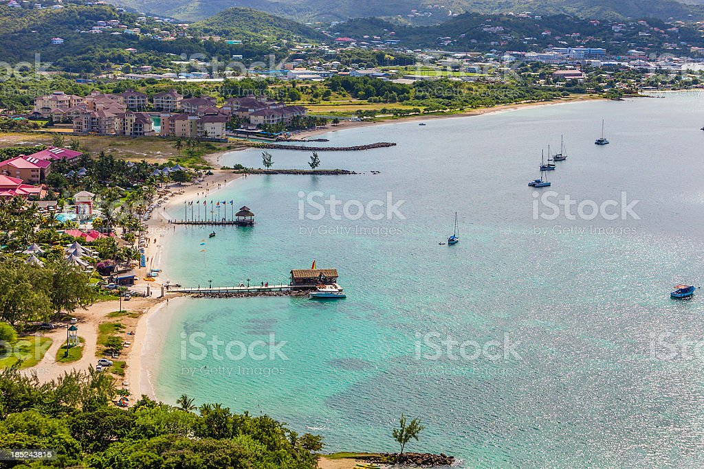 Aerial shot of the town and waters of Rodney Bay, St. Lucia stock photo