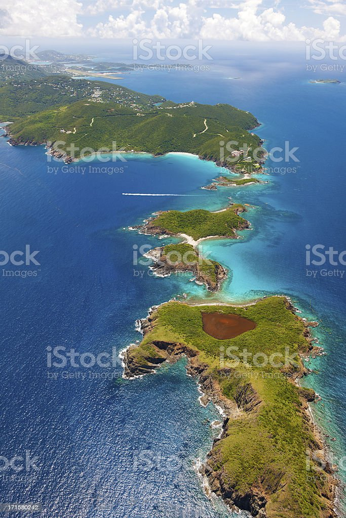 aerial shot of West End, St. Thomas, US Virgin Islands stock photo