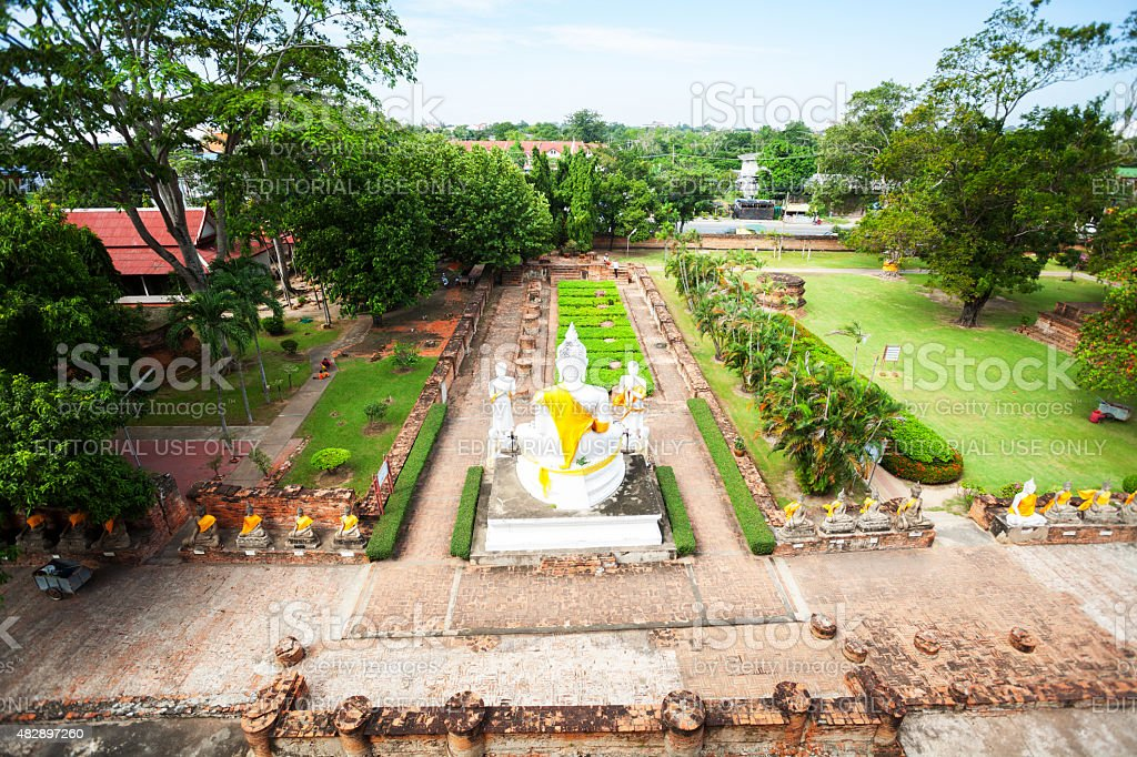Aerial shot of white buddhas in Ayutthaya stock photo