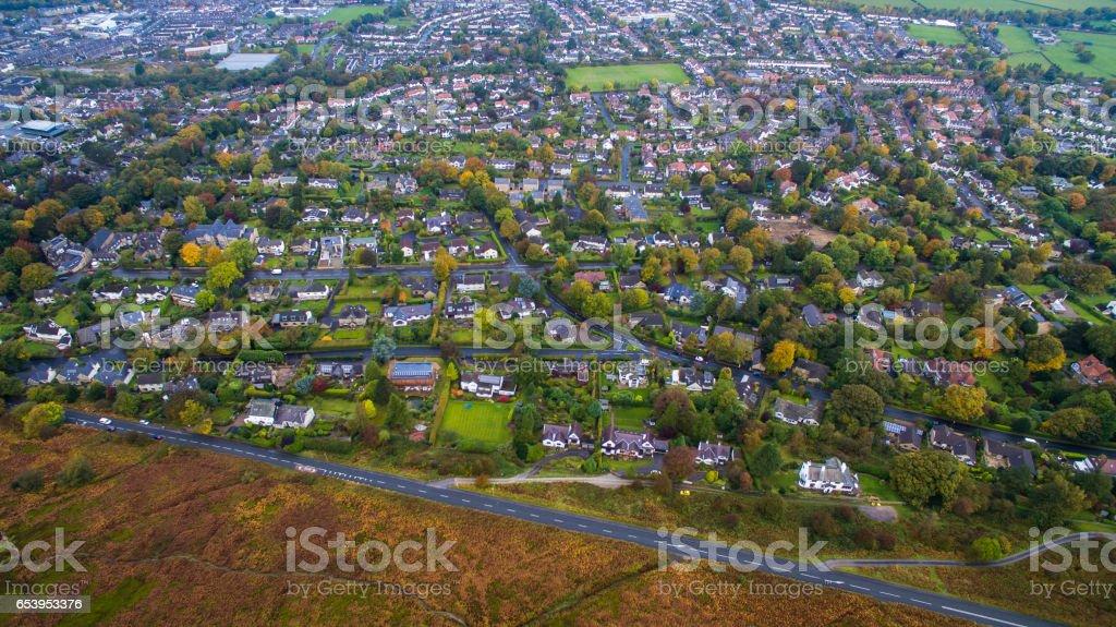 Aerial shot overlooking Ilkley stock photo
