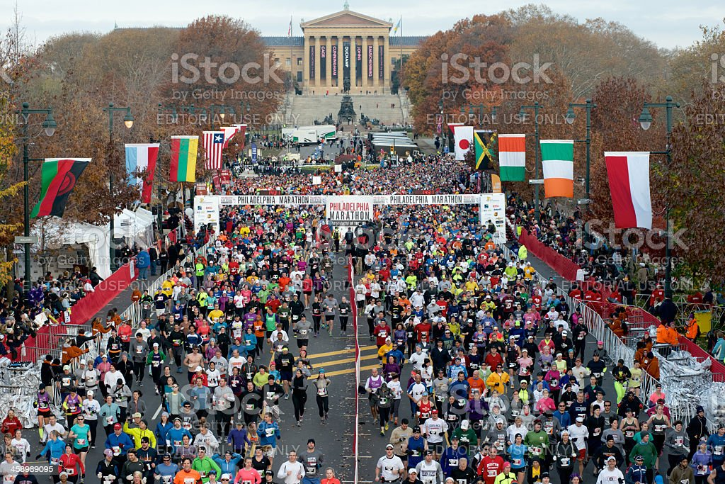 Aerial Shot start of 2012 Philadelphia Marathon stock photo