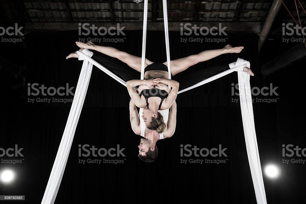 Aerial silk dancers stock photo