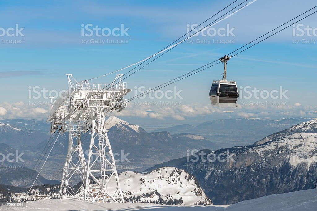 aerial ski lift arrival royalty-free stock photo