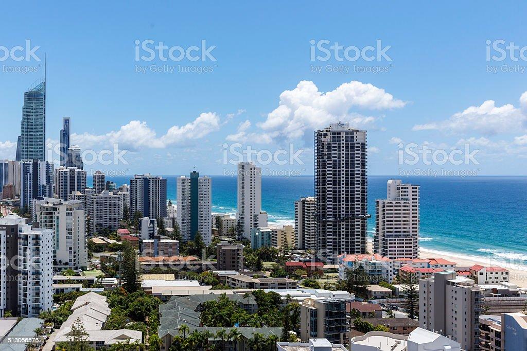 Aerial Skyline of the Gold Coast and Beach, Queensland, Australia stock photo