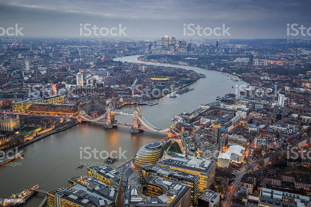 Aerial Skyline view of London with the iconic Tower Bridge stock photo