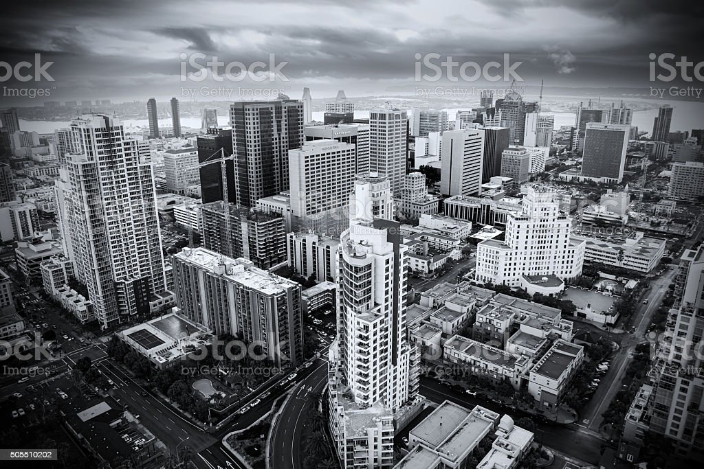 Aerial Skyline View of San Diego Abstract Black and White stock photo