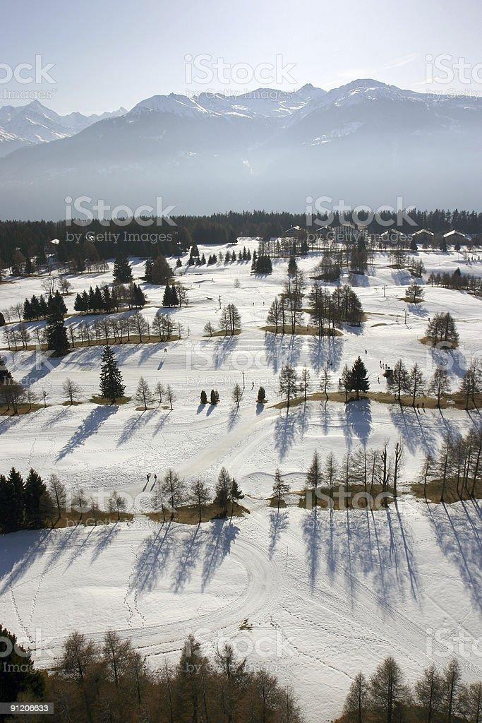 Aerial snow scene royalty-free stock photo