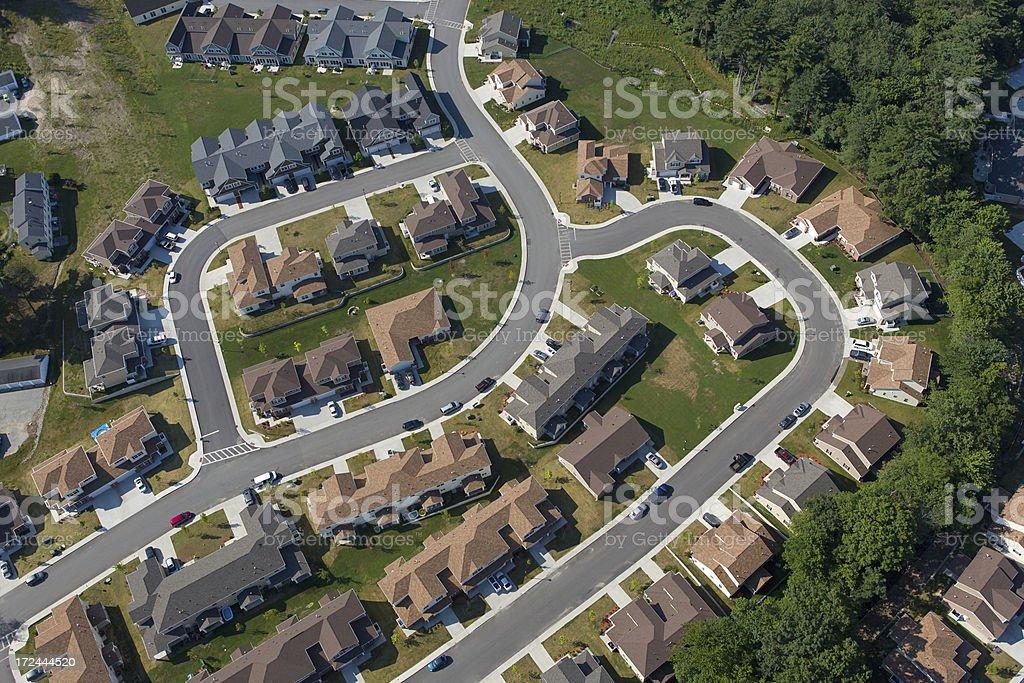 Aerial Suburban Subdivision stock photo