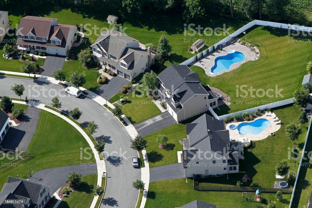 Aerial Suburban Subdivision Swimming Pools stock photo