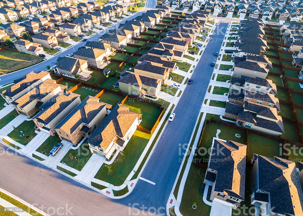 Aerial Suburbs Austin Round Rock Texas Community stock photo