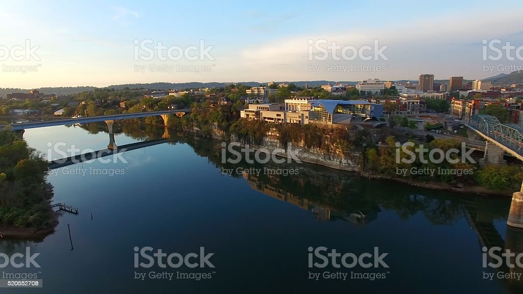 Aerial Sunrise Over Chattanooga Tennessee stock photo