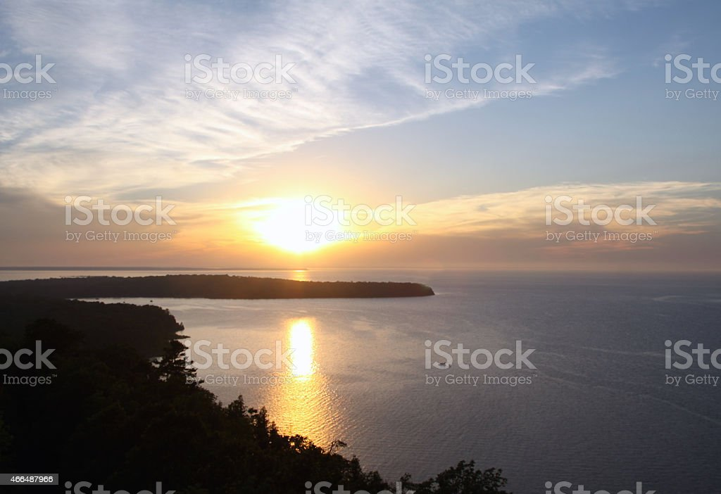 Aerial Sunset Over Lake Michigan stock photo