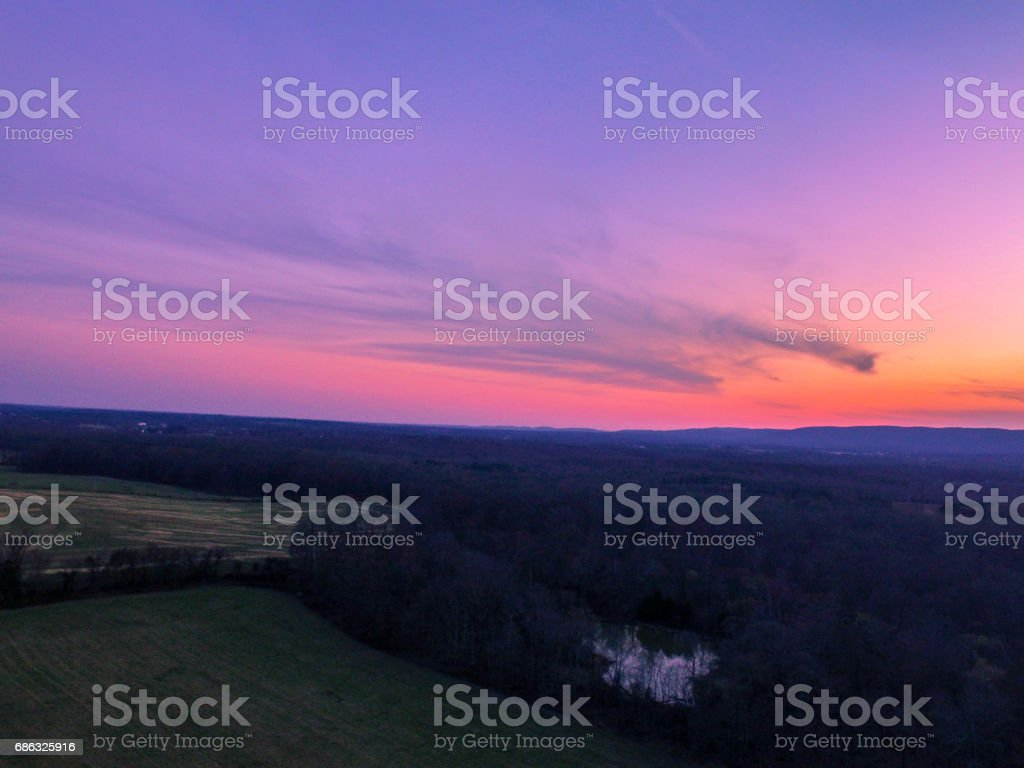 Aerial Sunset stock photo