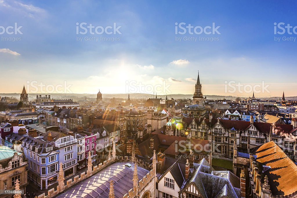 Aerial sunset view of Oxford City, United Kingdom stock photo