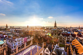Aerial sunset view of Oxford City, United Kingdom